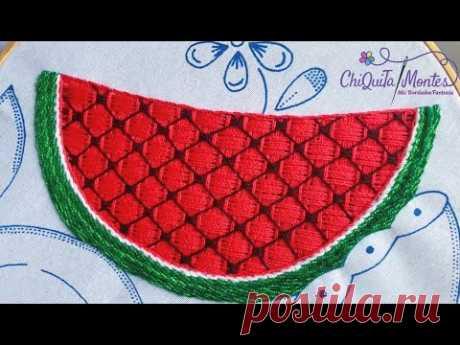 Bordado Fantasía Sandía 4 / Hand Embroidery Watermelon 🍉 with Fantasy Stitch