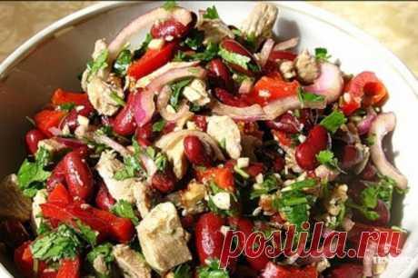 Салат «Все довольны» с говядиной, красной фасолью и горошком — Sloosh – кулинарные рецепты