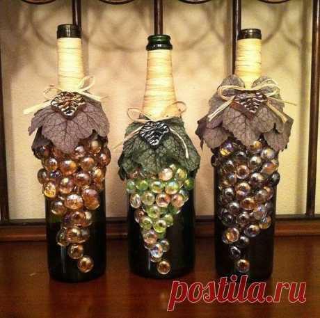 Оформление бутылки вина