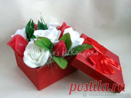 Букет из мыла в коробке. Розы – купить в интернет-магазине на Ярмарке Мастеров с доставкой Букет из мыла в коробке. Розы – купить или заказать в интернет-магазине на Ярмарке Мастеров | Мыльные букеты -  новая модная тенденция подарков…