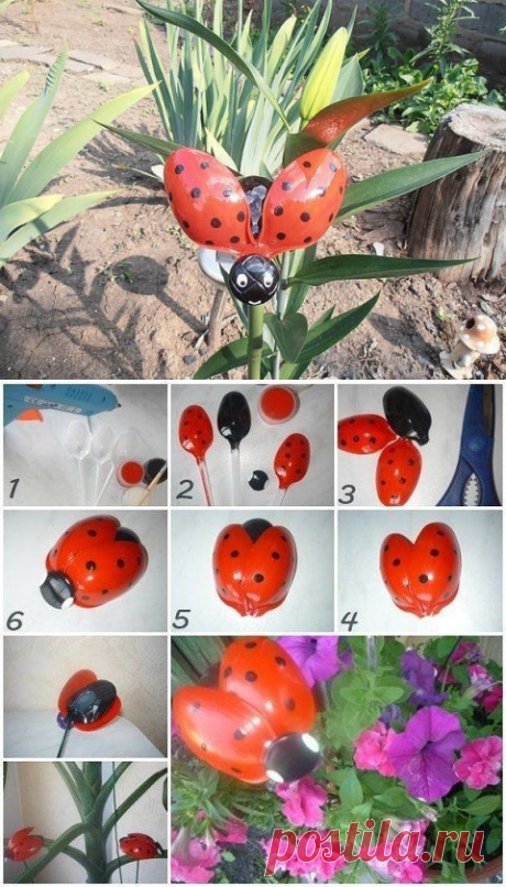 Ladybug from plastic spoons
