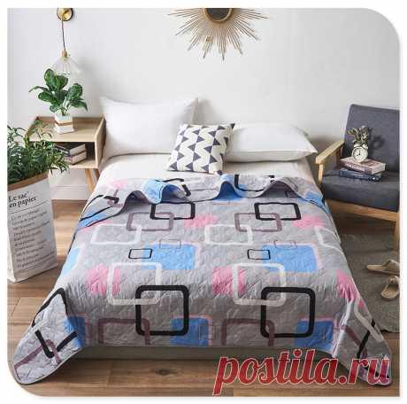 Летнее моющееся одеяло из полиэстера, мягкое дышащее одеяло с геометрическим принтом, покрывало для кровати Одеяла    АлиЭкспресс