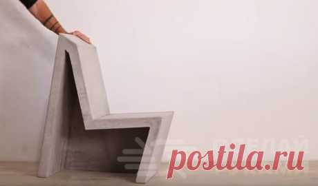 Бетонный стул в стиле лофт своими руками Бетонные элементы декора уже завоевали многие интерьеры. Этот материал даёт прекрасный простор фантазии.Бетонный стул необычной геометрической формы