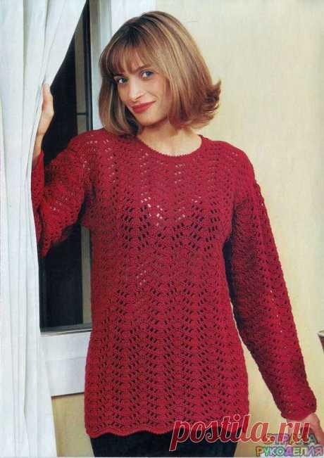 Привлекательный пуловер крючком - Жакет.Пуловеры.Свитер - Страна рукоделия