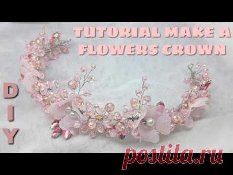 DIY | How to Make a pink flowerscrown / cara membuat mahkota bunga / diy crown tiara headpiece