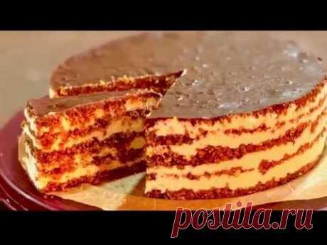 Торт без выпечки - вкуснейший! С шоколадом, орешками, сухофруктами, нежным кремом! Пробуем!