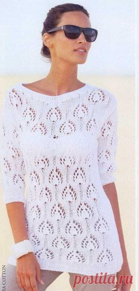 Белый пуловер спицами ажурным узором. Женский пуловер спицами схема и описание |помогите со схемой