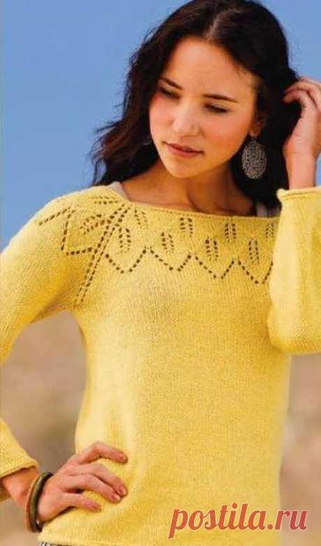 Пуловер-реглан с ажурной кокеткой.