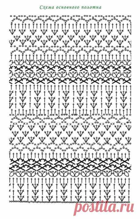 Вязание крючком - схемы с чередующимися узорами