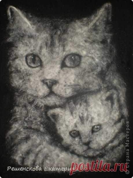 Кошка с котёнком. Картина из пуха. | Страна Мастеров