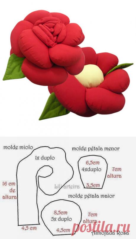 Подушка-Роза: выкройка. Идеи для творчества ~ Свое рукоделие