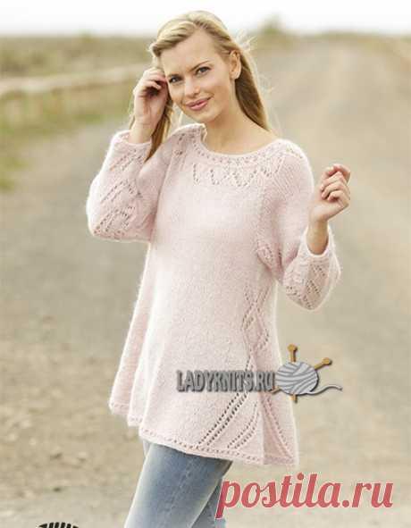 "Knitted spokes jumper ""Пастельная элегантность&quot raglan;"