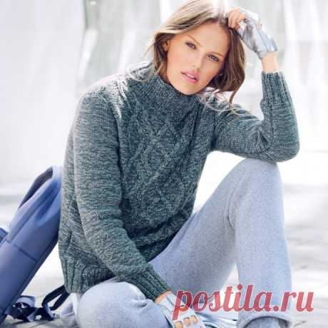 Красивый меланжевый свитер для женщин из категории Интересные идеи – Вязаные идеи, идеи для вязания