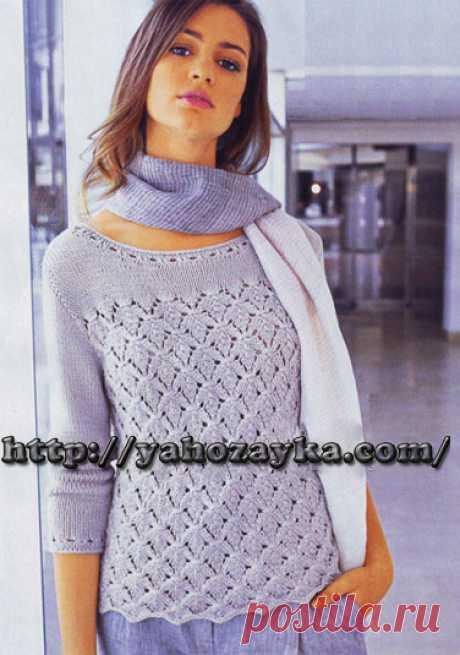 Пуловер с узором листья - схема вязания + фото и описание Схема вязания спицами пуловера с узором листья - вязание для домохозяек.