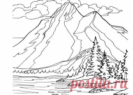 Coloring Pages Of Mountains Landscaping Mountain Free Adult