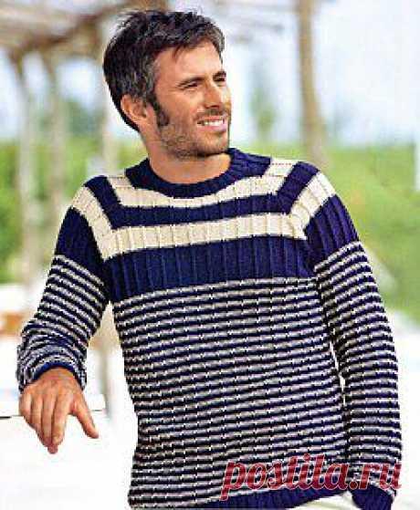 Мужской пуловер, связанный спицами | петелики