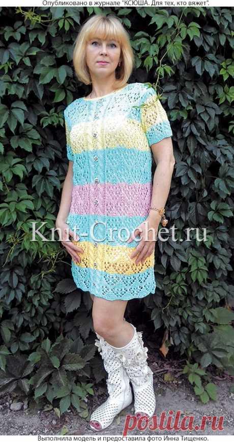 Платье «Цветочная поляна» спицами. - Платья, связанные спицами - Вязание спицами - Каталог статей - Вязание спицами и крючком