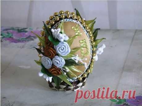 Пасхальное яйцо в технике канзаши\DIY ribbon Easter Eggs