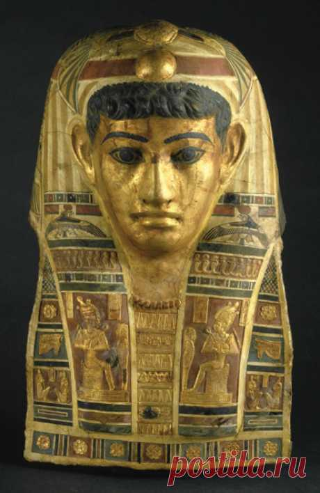 """humanoidhistory: """"Mummy Mask of a Man. Egypt, Roman Period, early 1st century C.E. Stucco, gilded and painted. (Brooklyn Museum) """""""