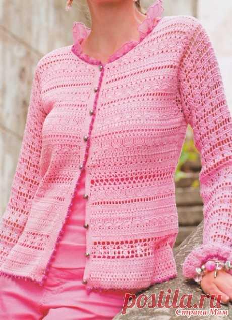 Розовый жакет - Все в ажуре... (вязание крючком) - Страна Мам