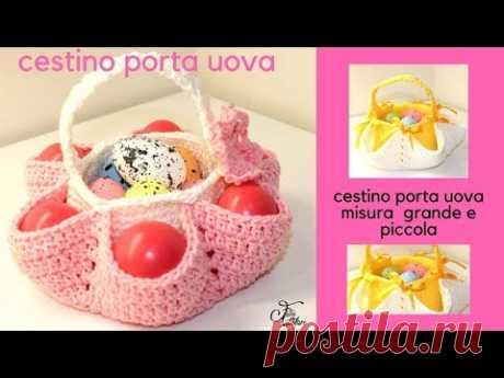 TUTORIAL: cestino pasquale portauova\/crochet easter egg basket *** lafatatuttofare ***