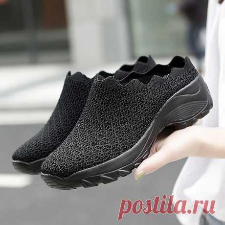 Women Mesh Solid Color Platform Backless Shoes - US$31.99
