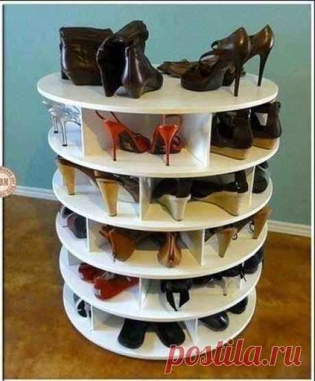 Удобная крутящаяся тумба для обуви