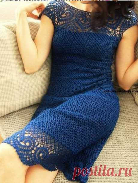Синее платье крючком Синее платье крючком. Кружевное летнее платье с схемами