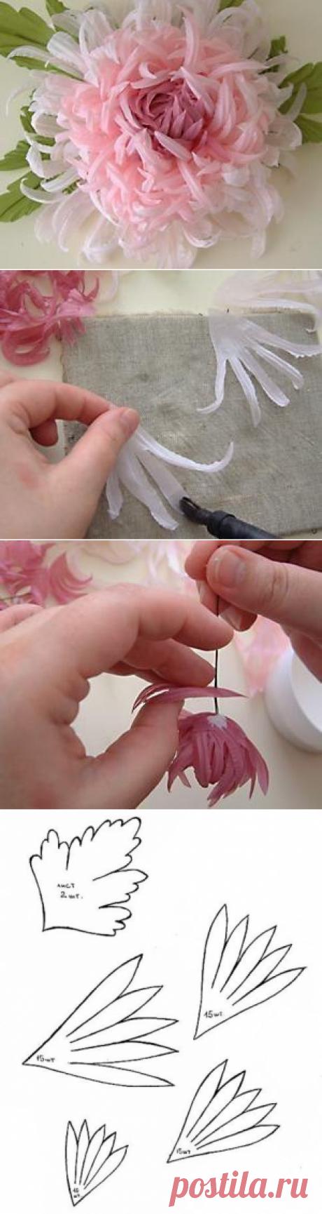 Хризантема - цветок из тонкой ткани — Сделай сам, идеи для творчества - DIY Ideas