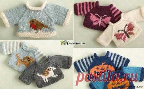 Вязание спицами свитеров для кукол. Схемы
