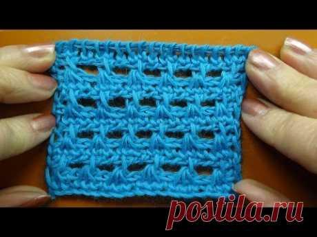 Tunisian crochet pattern Ажурный узор Тунисское вязание  29
