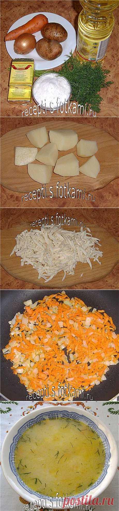 Сырный суп из плавленных сырков - пошаговый  с фото