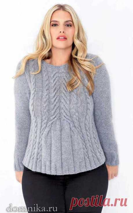 Вязание спицами для полных женщин I свитер с косами