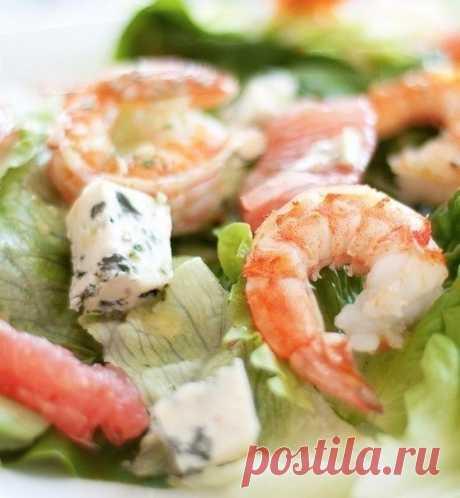 Салат с креветками с мятной заправкой — Мегаздоров
