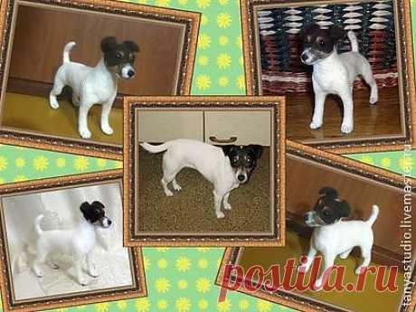 Портретная скульптура собаки Джек Рассел - войлочная скульптура,Сухое валяние