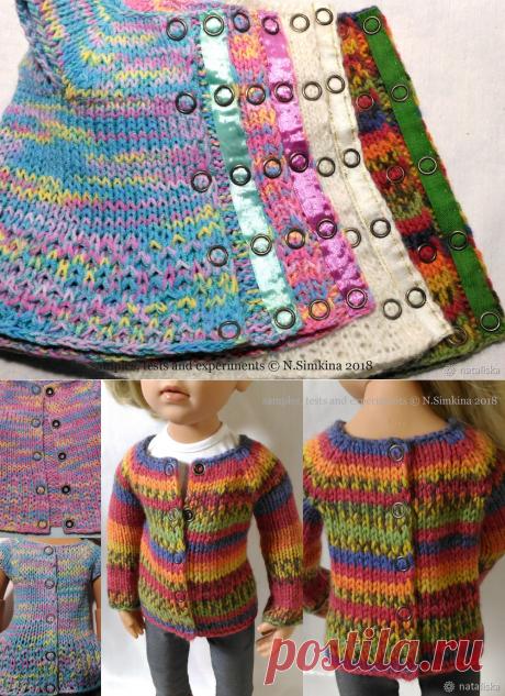 Поставим рубашечные кнопки на вязаную одежду для кукол