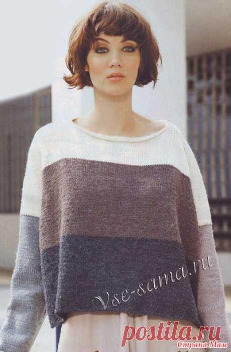Широкий пуловер свободного кроя в полоску - Вязание - Страна Мам