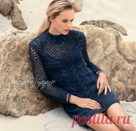 Платье с круглой кокеткой в сеточку (Вязание спицами) | Журнал Вдохновение Рукодельницы