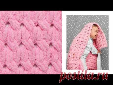 Alize Puffy ile Saç Örgü Tekniği- Braid Knitting Technique with Alize Puffy #battaniye