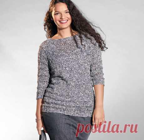 Меланжевый пуловер реглан с ажурными дорожками для полных спицами – схема и описание вязания до 60-62 размеров
