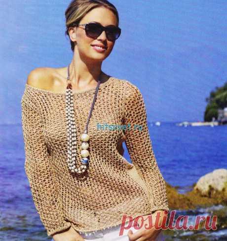 El pulóver femenino veraniego del hilado de color beige - Hitsovet el pulóver Femenino veraniego del hilado de color beige. Como Ud será necesario: 450 (500-550-600) g del hilado Soiare de color beige (100 % del algodón, 90 m\/50); los rayos №4.