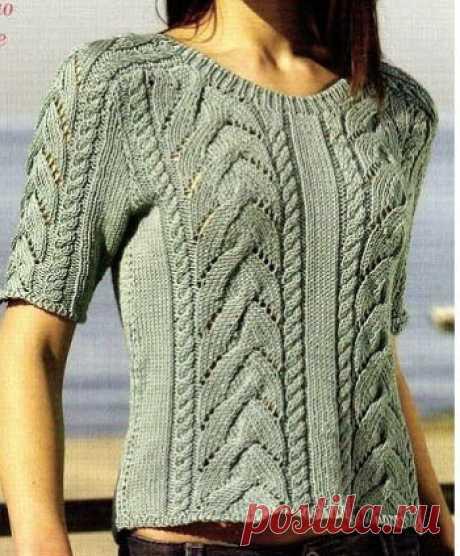 Летний пуловер с косами Симпатичный летний пуловер с косами. Описание вязания, схема, выкройка.  Скоро лето. Обновляем гардероб. Этот чудный пуловер вяжется довольно просто.         (ДАМСКАЯ КОПИЛКА)