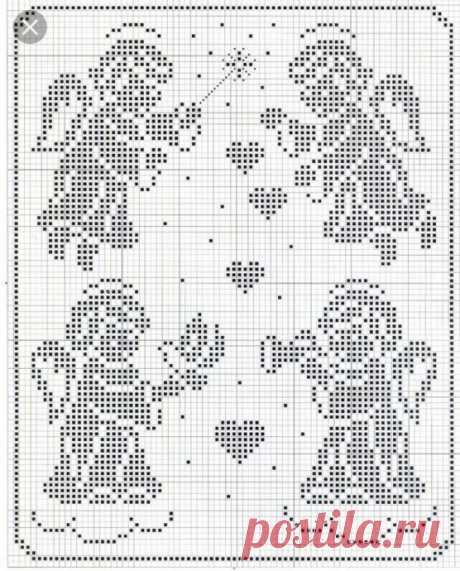 Схемы для филейного вязания: ангелочки