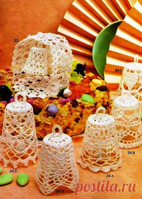 Колокольчики. Ажурное вязание. Новогодние игрушки вязание крючком