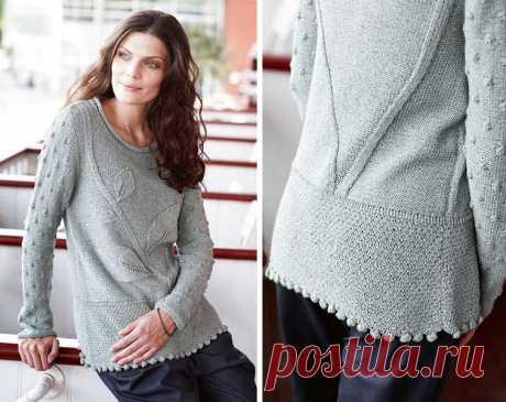 Пуловер с растительным узором - схема вязания спицами. Вяжем Пуловеры на Verena.ru