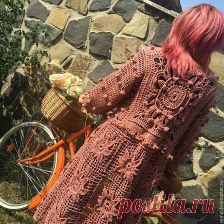 Купить Бохо-кардиган-пальто ''Осень розы'' - кардиган, кардиган вязаный, кардиган женский