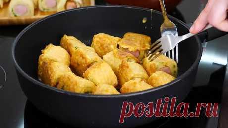 ПРОСТОЙ ПЕРЕКУС Картофельные пенечки с сосисками