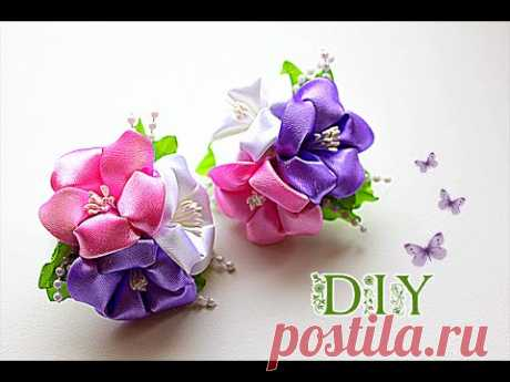\ud83c\udf3a Elastic bands with Flowers from Tapes | Kanzasha Master - the Class