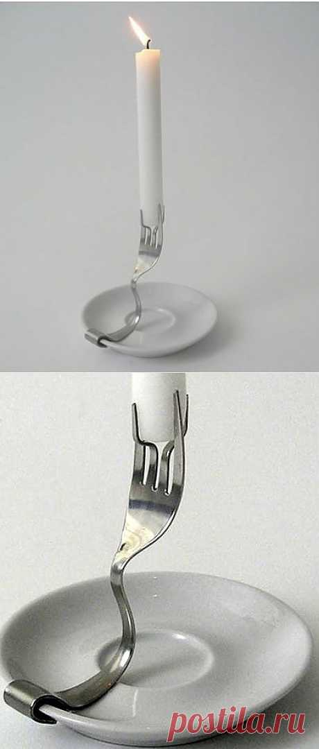 Candlestick from fork \/ Table layout \/ the Fashionable website about stylish alteration of clothes and an interior
