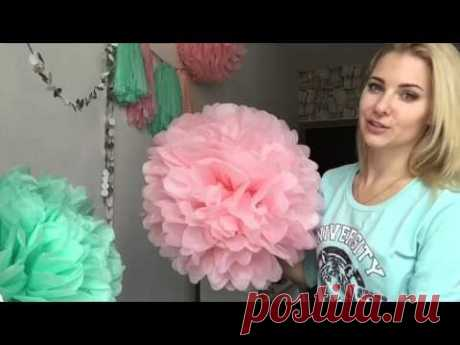 Spring decor: pompons and a garland from brushes - on March 8! Pom Pom flower